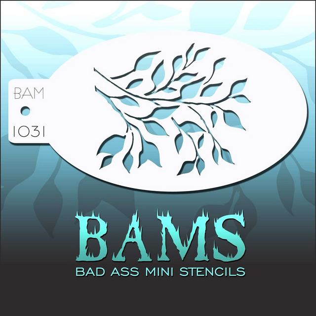 Bad Ass Mini Face Painting Stencil BAM 1031 Foliage