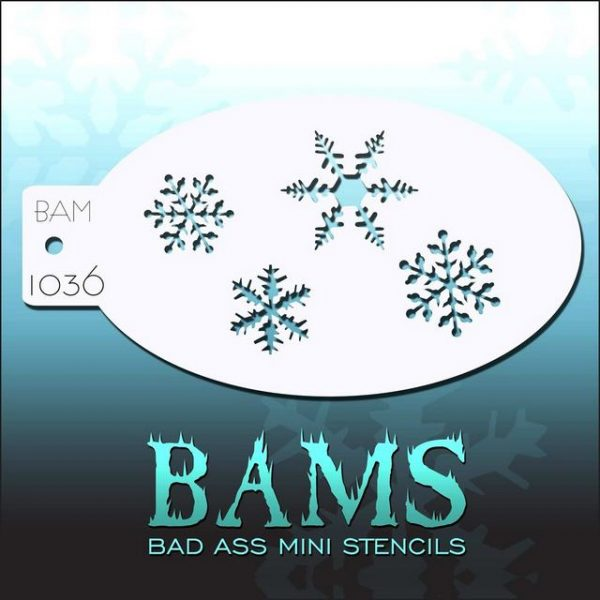 Bad Ass Mini Face Painting Stencil BAM 1036 Snowflakes
