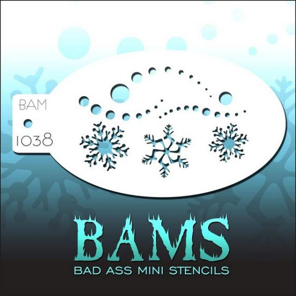 Bad Ass Mini Face Painting Stencil BAM 1038 Snowflake Swirl