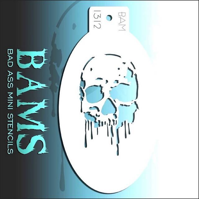Bad Ass Mini Face Painting Stencil BAM 1312 Dripping Skull