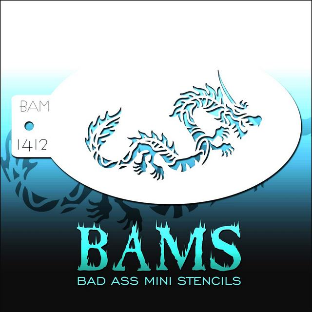 Bad Ass Mini Face Painting Stencil BAM 1412 Chinese Dragon