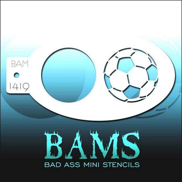 Bad Ass Mini Face Painting Stencil BAM 1419 Soccer Ball