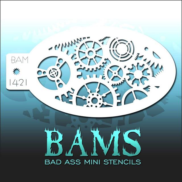 Bad Ass Mini Face Painting Stencil BAM 1421 Cogwheels