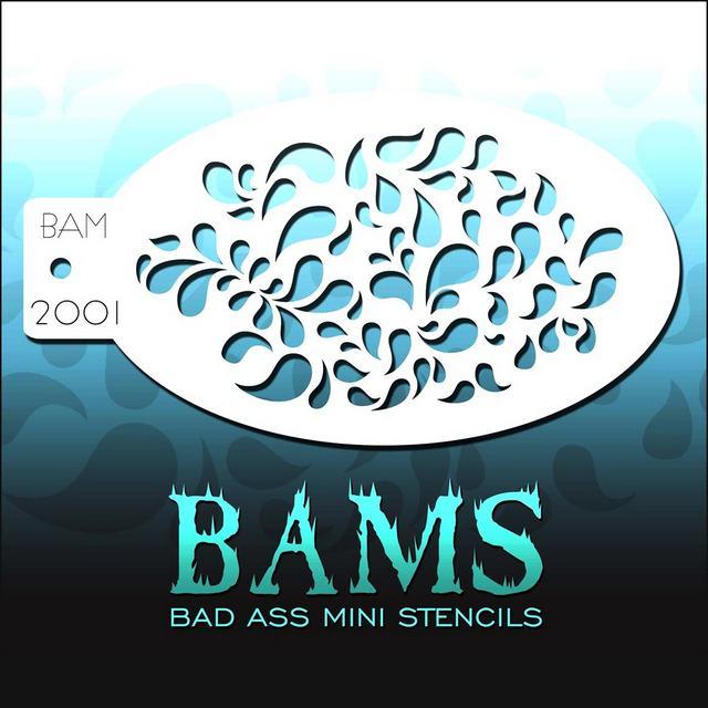Bad Ass Mini Face Painting Stencil BAM 2001 Teardrops