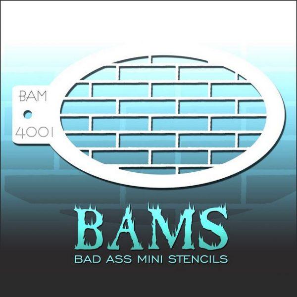 Bad Ass Mini Face Painting Stencil BAM 4001 Bricks