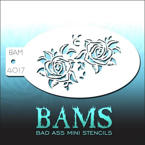 Bad Ass Mini Face Painting Stencil BAM 4017 Roses