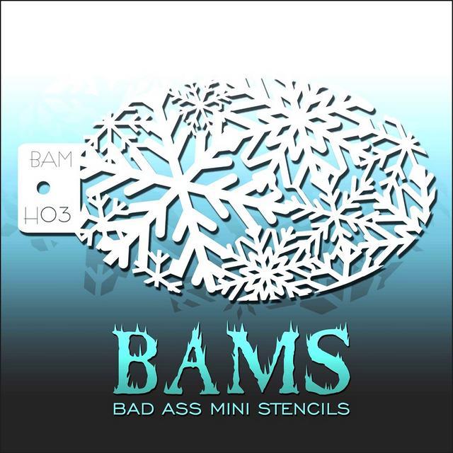 Bad Ass Mini Face Painting Stencil BAM H03 Snowflakes