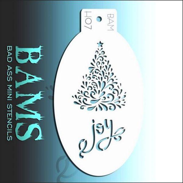 Bad Ass Mini Face Painting Stencil BAM H07 Christmas Tree Joy