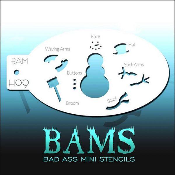 Bad Ass Mini Face Painting Stencil BAM H09 Snowman