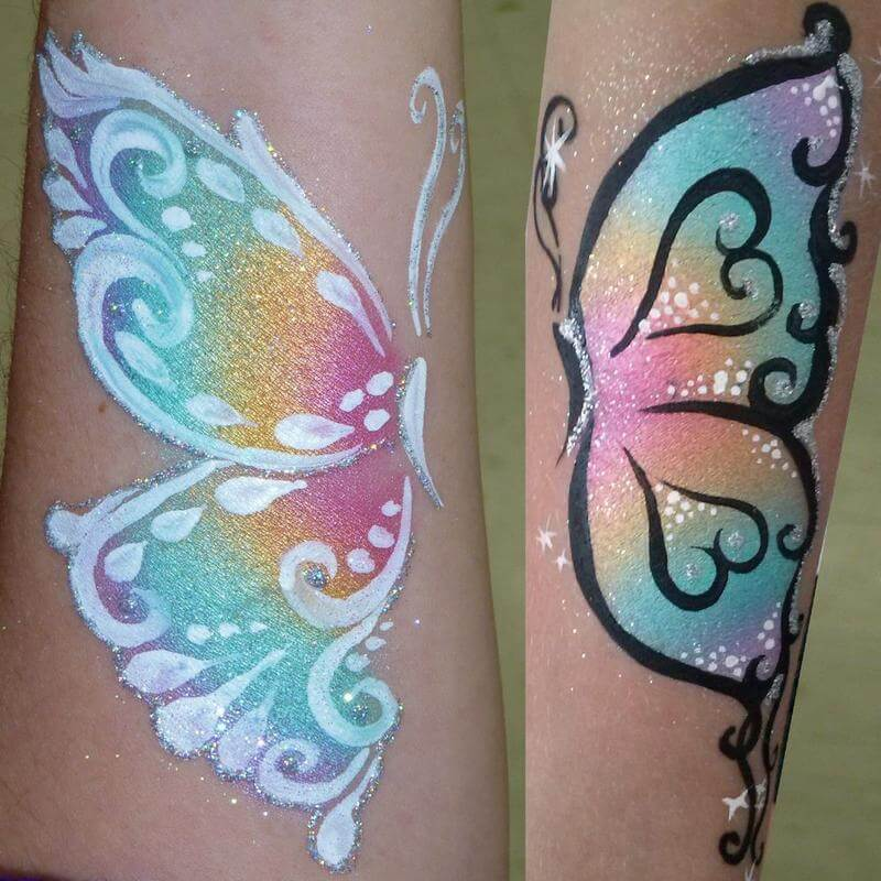Butterfly face painting design in FPW Pastel Pearl Split-cake with Silver Glitter Gel accents