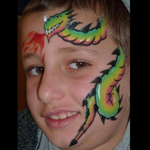 Dragon one-stroke face painting design with FPW Paradise One-stroke and Silver Glitter Gel highlights