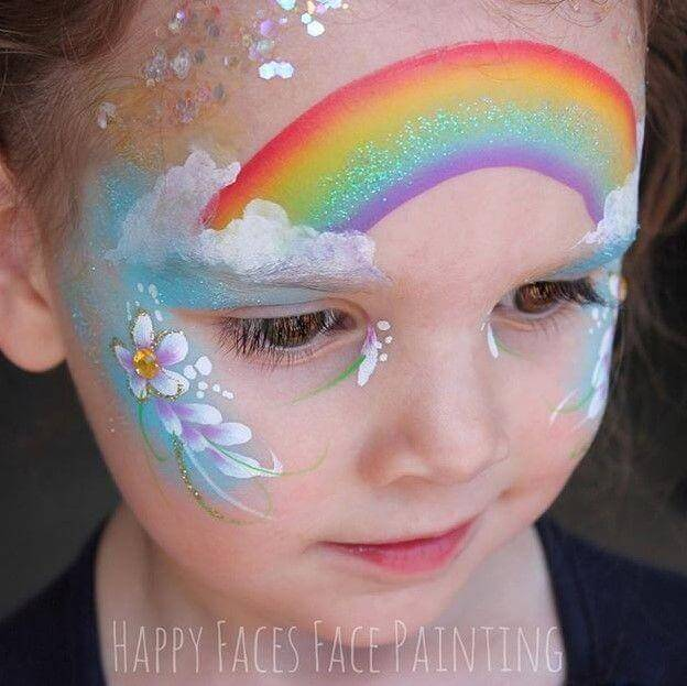 Easy Rainbow face painting design with Face Paint World True Rainbow one-stroke and gold glitter gel