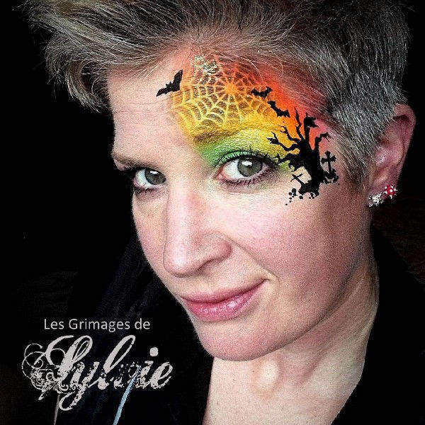 Halloween face painting design by Sylvie Dehareng using Diva stencil