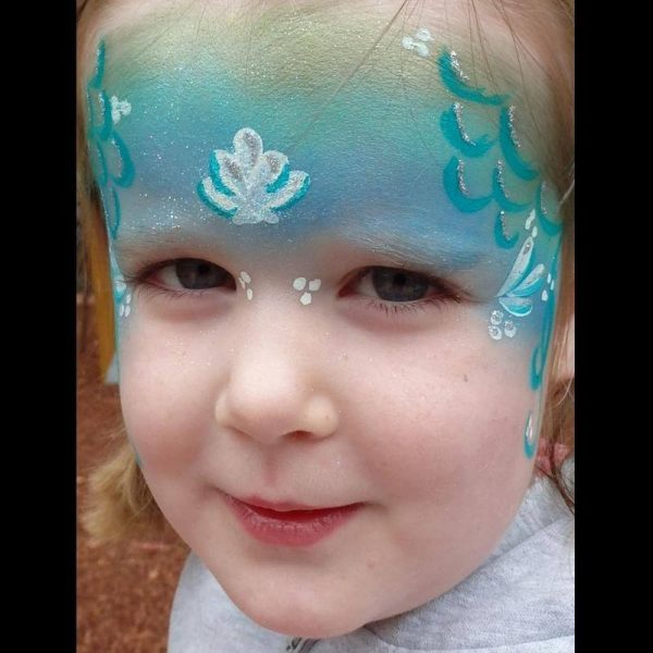 Mermaid face painting design with Silver Glitter Gel highlights