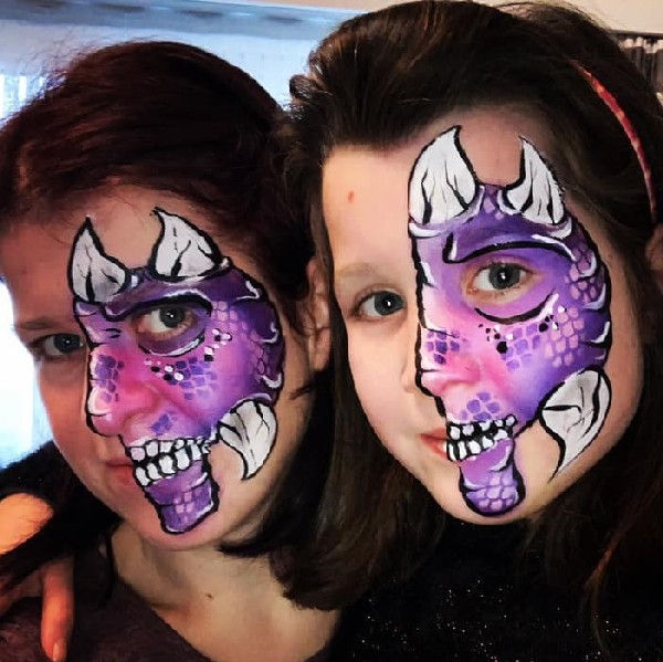Monster face painting design by Sandy Willems Rosette using Diva dragon scales stencil #509