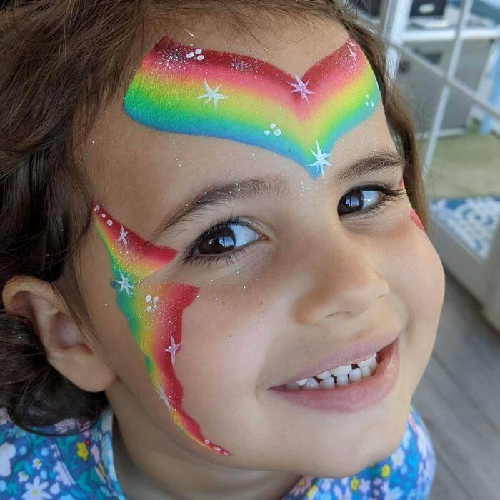 FPW Rainbow Lorikeet one-stroke Rainbow Fairy face painting