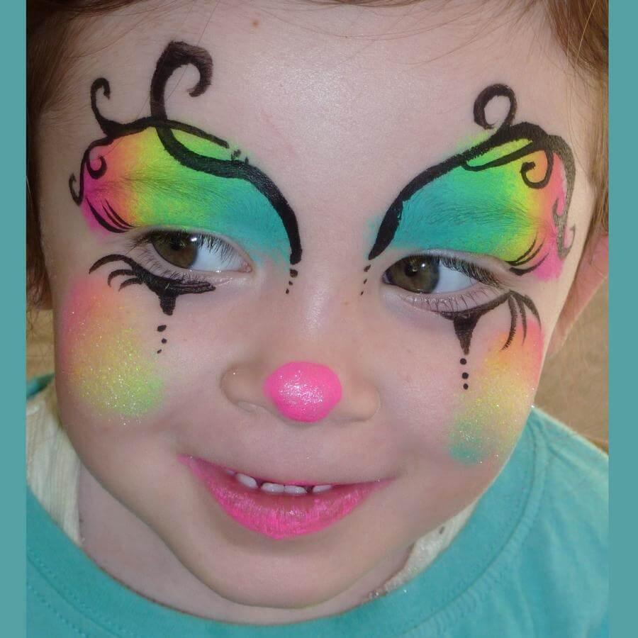 Face Paint World Bright Rainbow split-cake Clown face painting