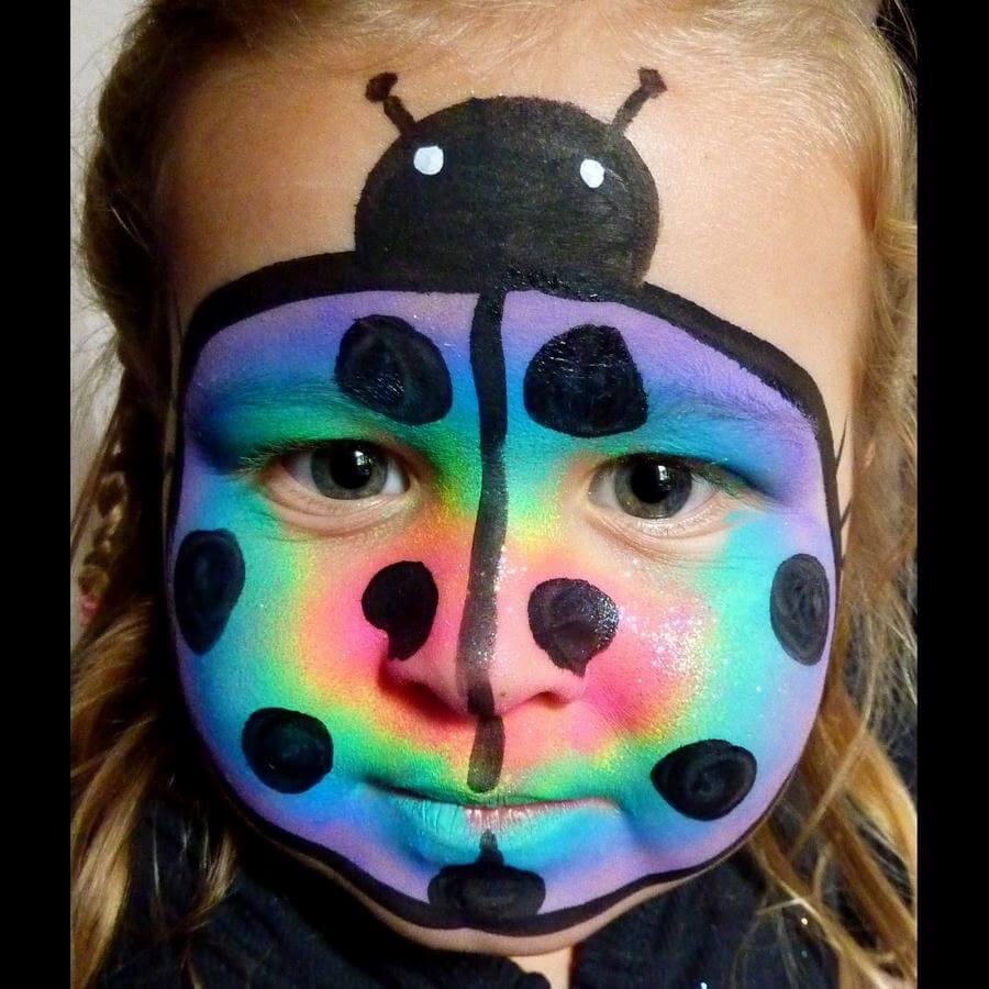 Face Paint World Bright Rainbow split-cake Rainbow Ladybird face painting