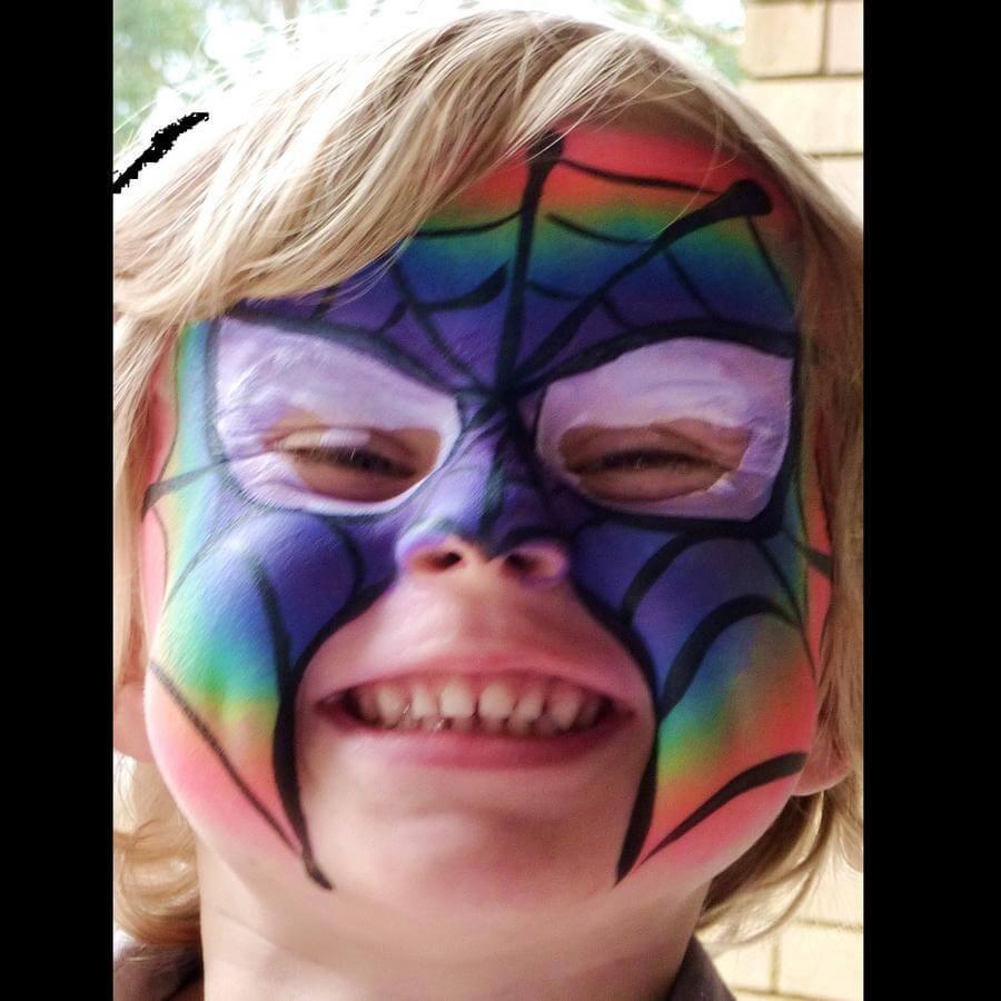 Face Paint World Bright Rainbow split-cake Rainbow Spiderman face painting