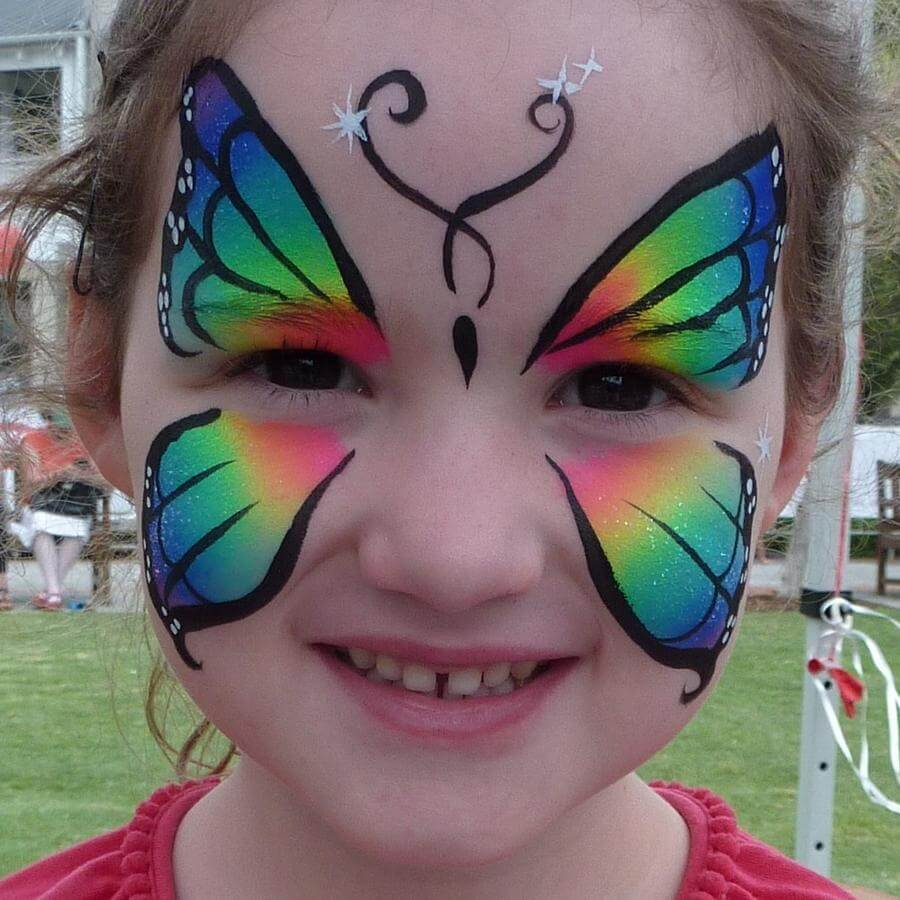 Face Paint World Bright Rainbow split-cake butterfly face painting