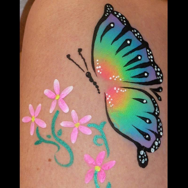 Face Paint World Bright Rainbow split-cake butterfly
