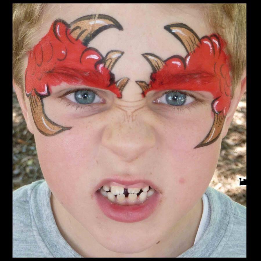 Horny monster face painting using Flora brush for horns