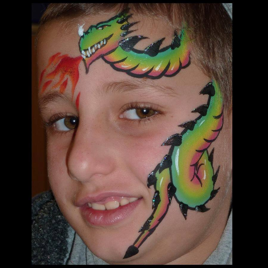 Paradise One-stroke dragon face painting using Flora brush for spines