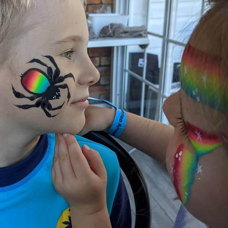 Rainbow Lorikeet One-stroke Spider face painting