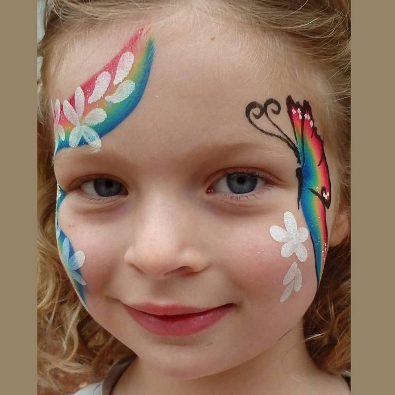 Rainbow Lorikeet One-stroke butterfly face painting