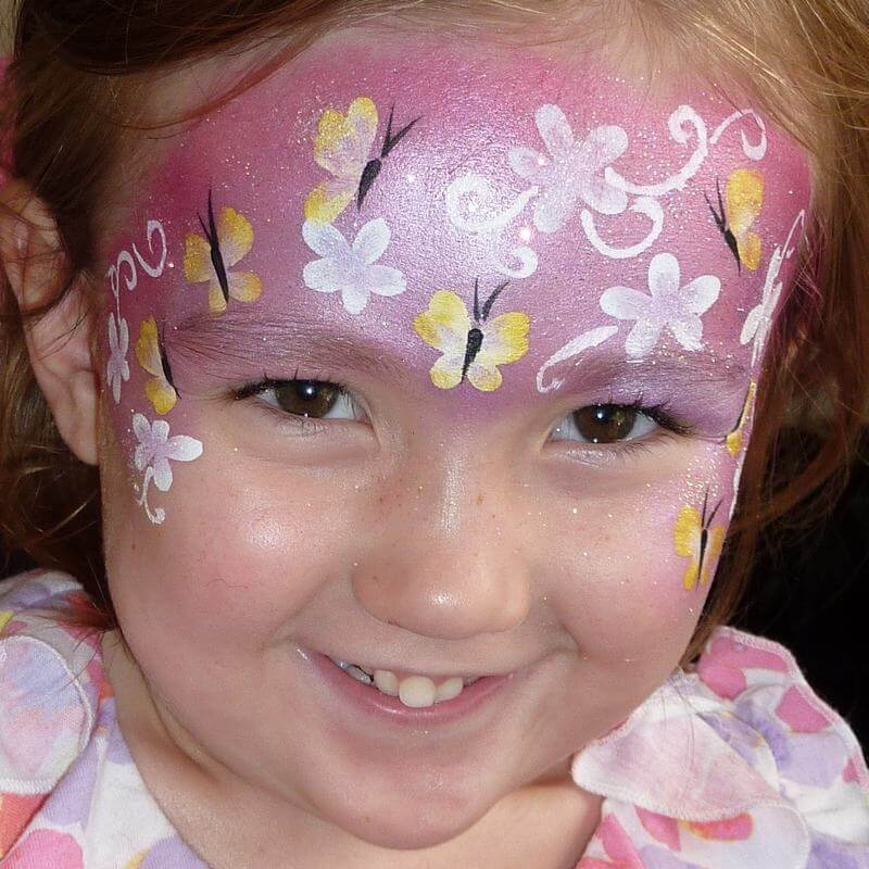 TAG Pearl Rose Butterfly and Flowers face painting design