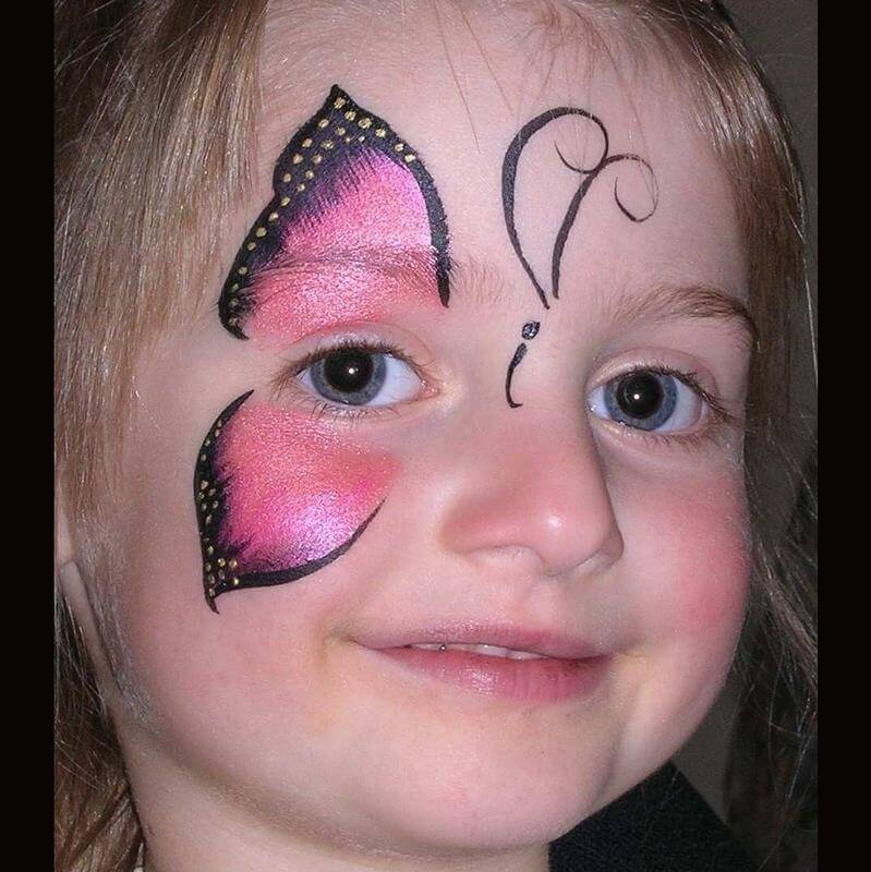 TAG Pearl Rose Butterfly face painting design