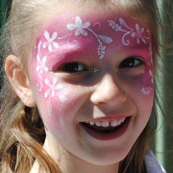 TAG Pearl Rose Flower Fairy face paint design