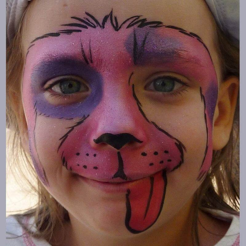 TAG Pearl Rose and Pearl Purple Dog face painting design