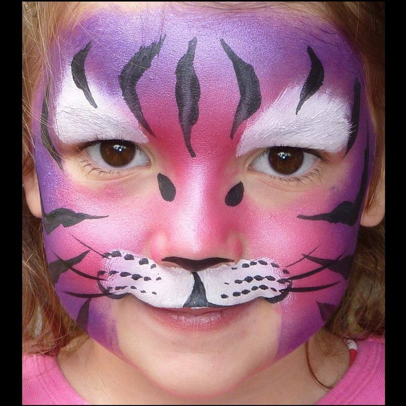 TAG Pearl Rose and Pearl Purple Tiger face painting design