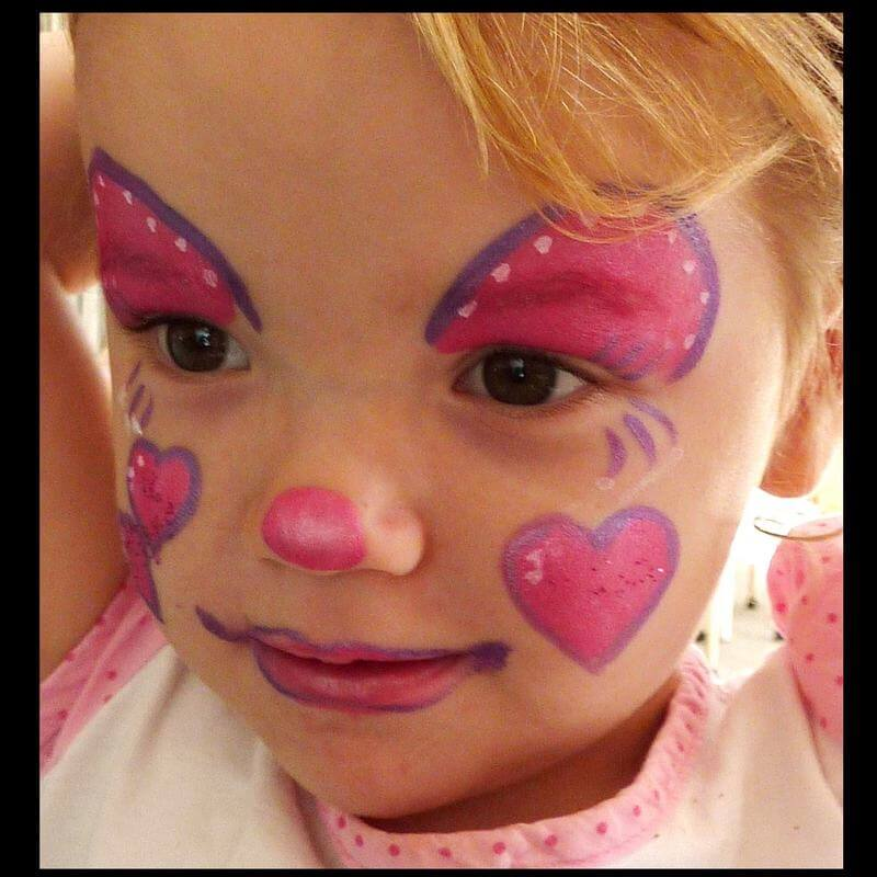 TAG Pearl Rose lovely clown face painting design