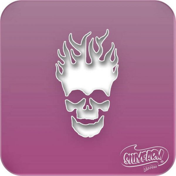 Pink Power FLAMING SKULL face paint stencil