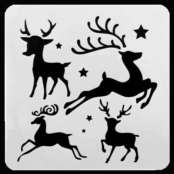 Rudolph, Dasher, Dancer and Prancer reindeer face painting stencil