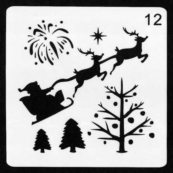 Santa's Flight face painting stencil