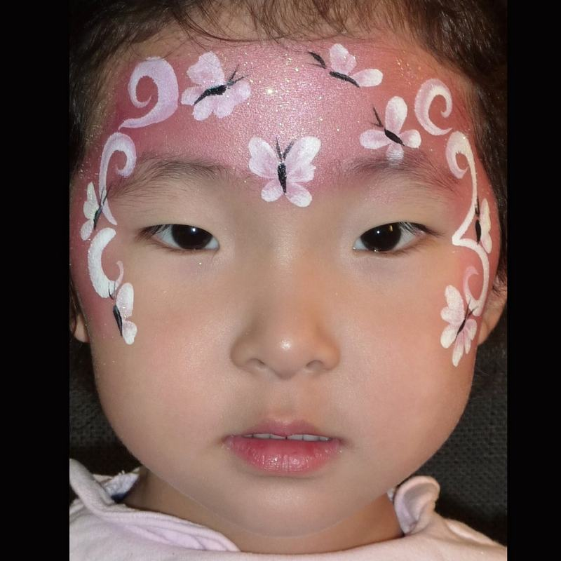 Simple Butterfly-Fairy face painting design in TAG Pearl Rose