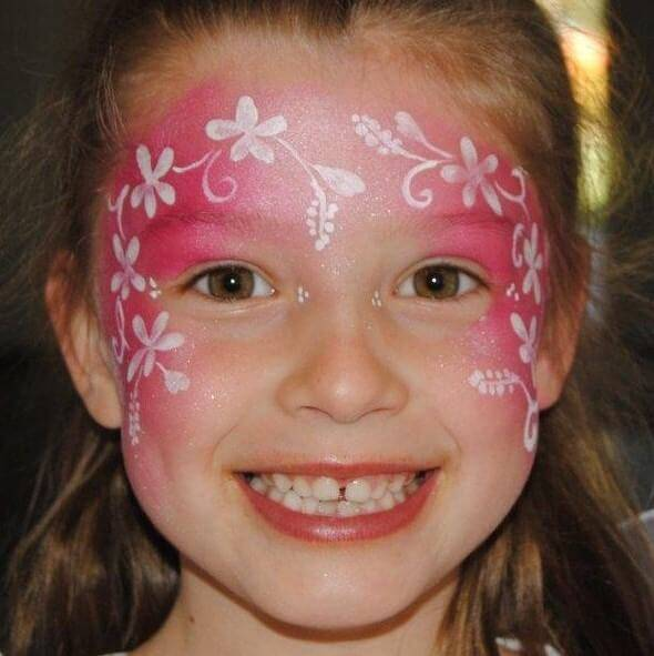 Simple Flower Fairy face painting design in TAG Pearl Rose
