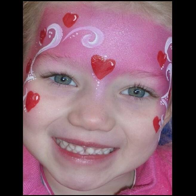 Simple Love Fairy face painting design in TAG Pearl Rose