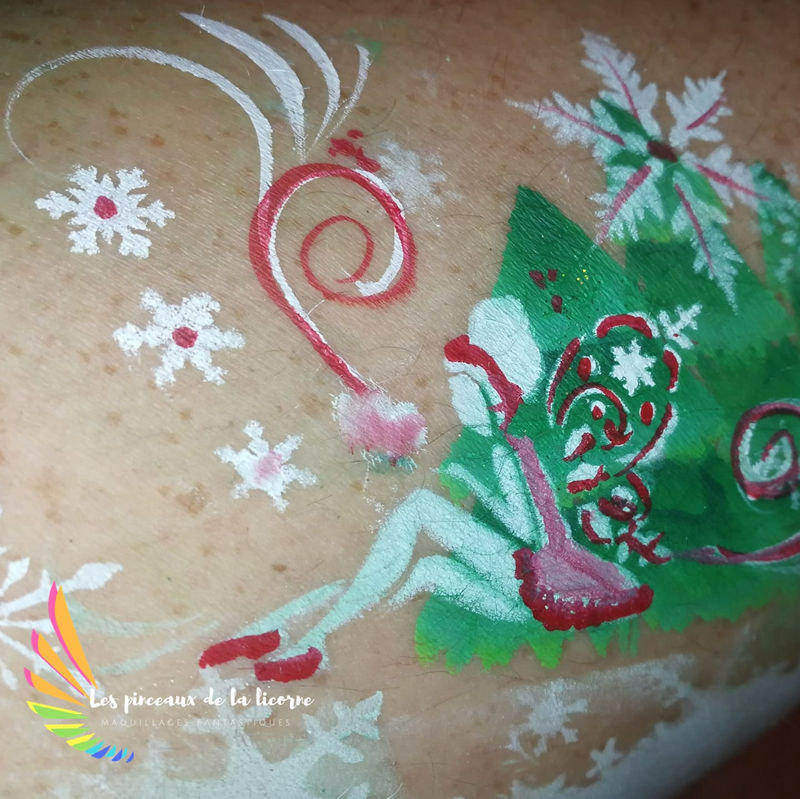 Snow fairy face painting design by Anne Svy-Bld using Diva stencil