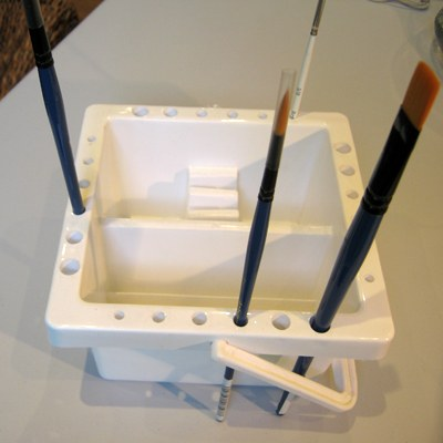 Square Brush Basin shown with brushes