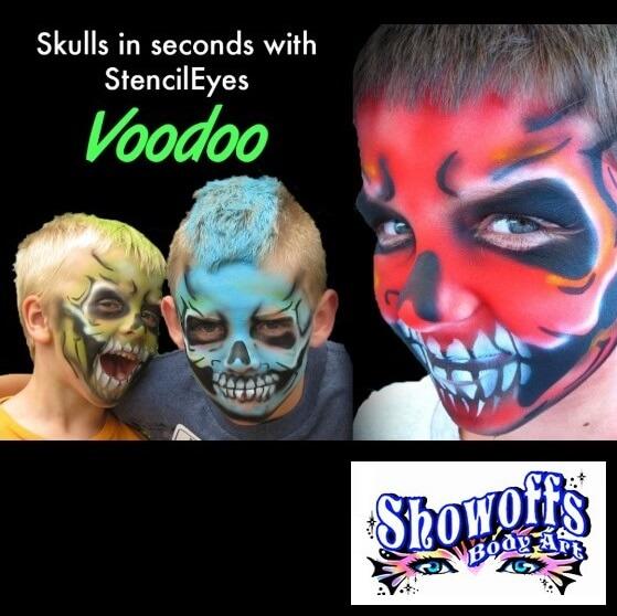 StencilEyes Voodoo skull Face Painting Stencil