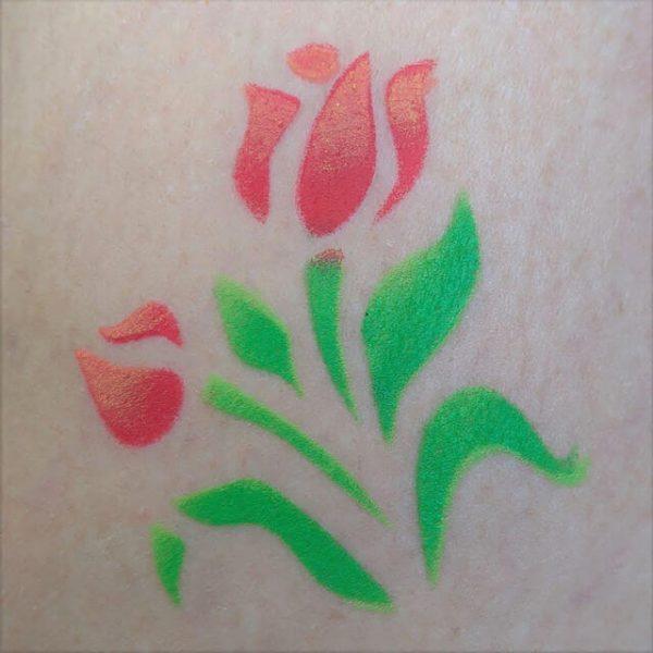 Stencilled tulips