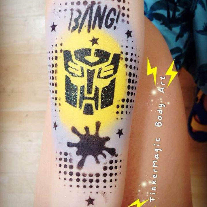 Transformers face painting design by Nancy Wu using Diva stencil