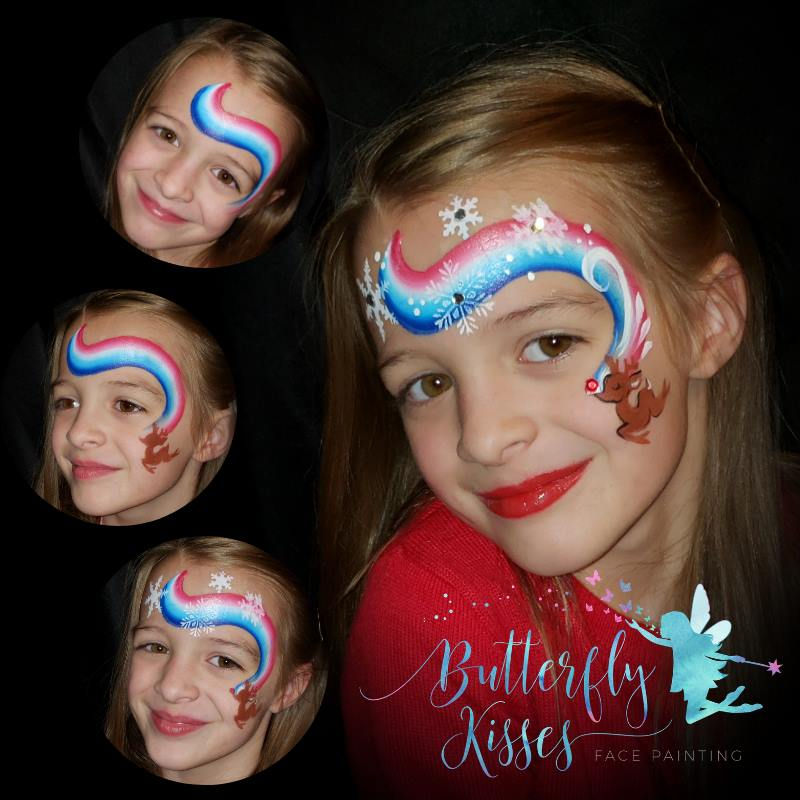 step-by-step Rudolf face painting design by Tammy Rosecrans using Diva stencil